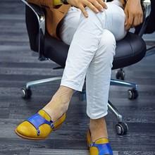 Handmade Pu Leather Mens Shoes Business Fashion Men Casual Retro Monk Strap Shoes Walking Footwear Z