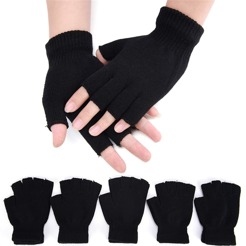 1Pair Black Half Finger Fingerless Gloves For Women And Men Wool Knit Wrist Cotton Gloves Winter Warm Workout Gloves