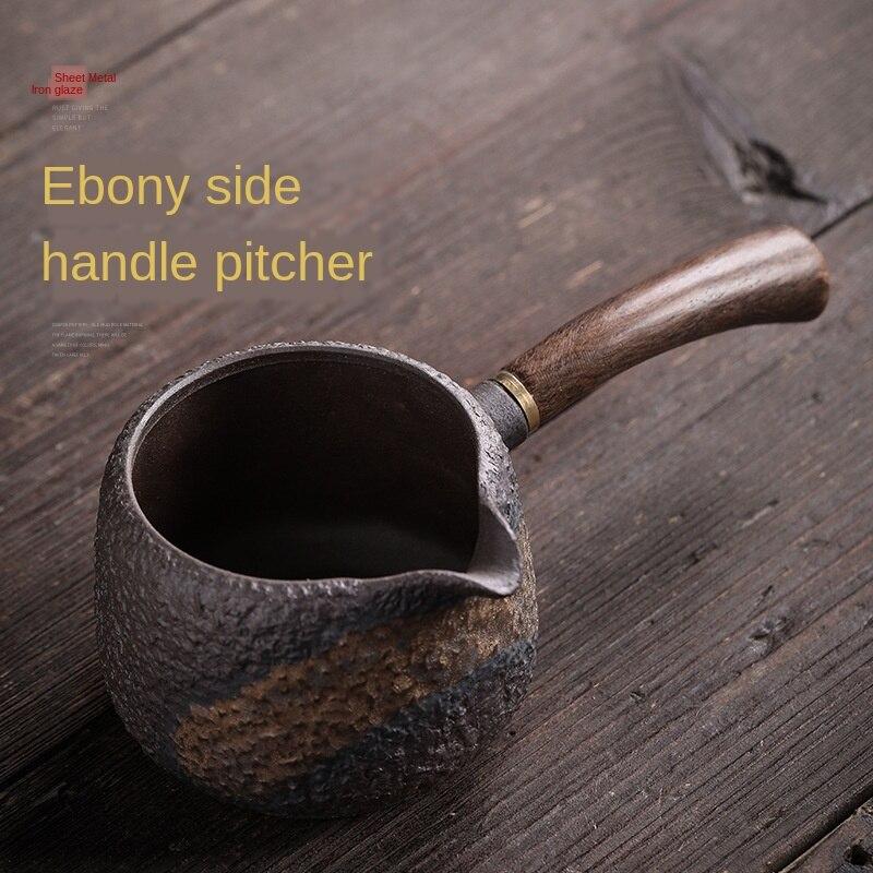 Blackwood-إبريق من الفخار بمقبض جانبي للرجال ، إبريق مصنوع يدويًا ، إبريق شاي زجاجي من الحديد المذهّب ، كوب معرض ، طقم شاي