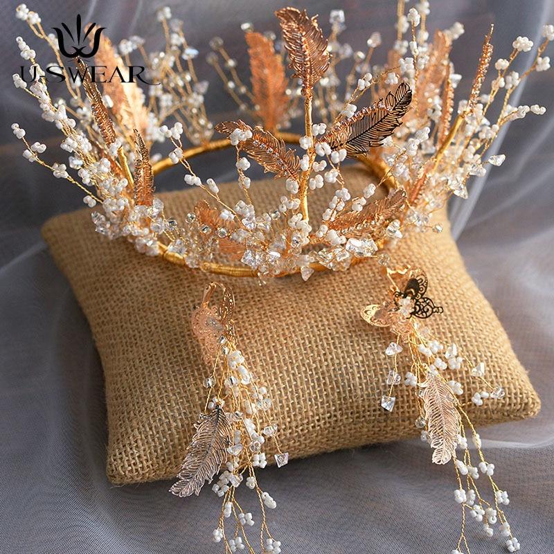 Corona de hojas de aleación con cuentas hechas a mano, conjunto de...