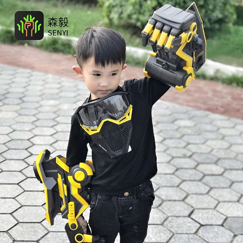 bumblebee intelligent water bomb gun mechanical arm child electric hair toy gun gift Outdoor shooting toy water bombs continuously launch Hornet robot robot arm toy gun children's toy gun soft bomb boy gift