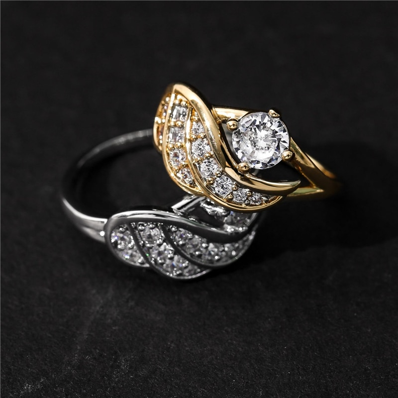 Exquisite gold white sapphire angel wings inlaid zircon charming diamond princess ring casual party