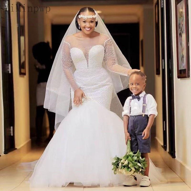 Get YiMinpwp White Mermaid Wedding Dresses O Neck Long Sleeve Sweep Train Pearls Beads Illusion Bodice Bridal Gown vestidos de novia