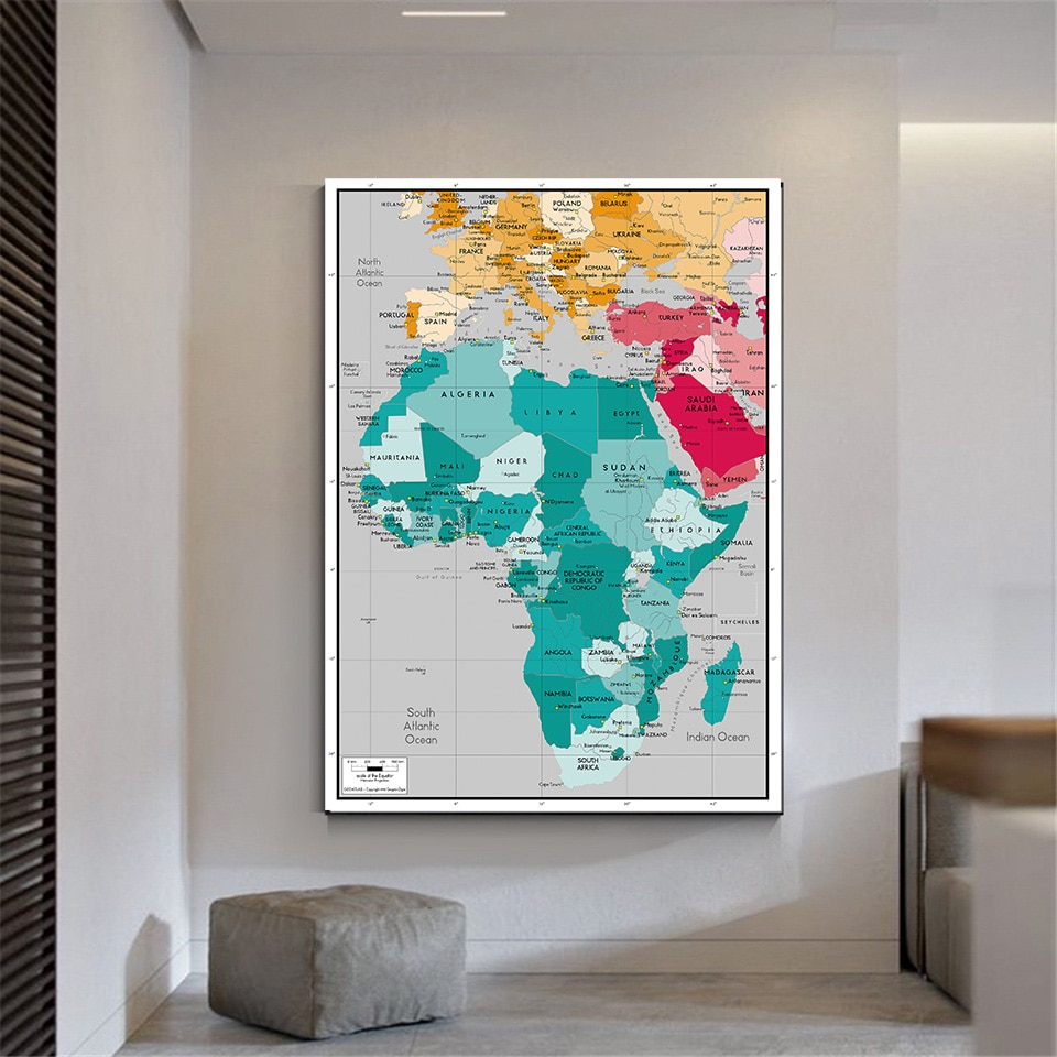 100*150cm The Africa Map Non-woven Canvas Painting Vintage Poster Wall Decor Living Room Home Decoration School Supplies