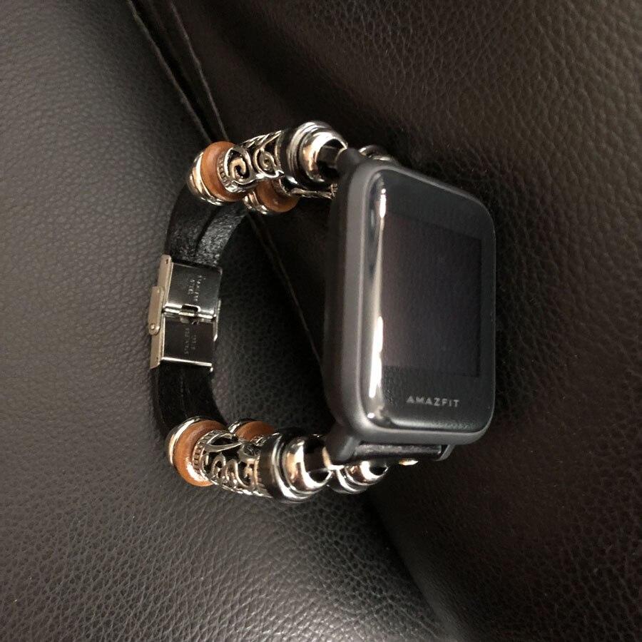Pulseira de relógio de couro genuíno para amazfit bip relógio inteligente retro trançado banda pulseira acessórios para garmin vivoactive 3