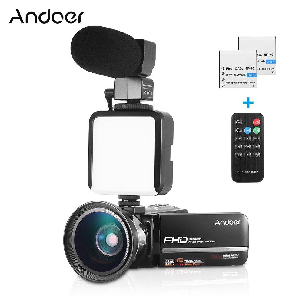 """Andoer HDV-301LTRM 1080P 24MP FHD videocámara Digital DV cámara de noche 3 """"Pantalla táctil + 2 * batería recargable"""