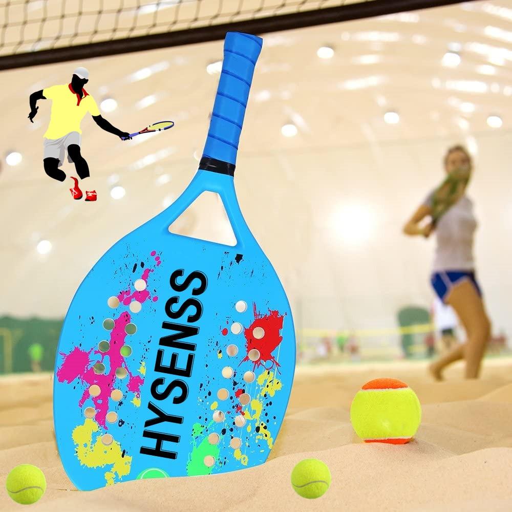Hysenss Beach Sports Tennis straight beat male and female general carbon fiber surface viscoelastic foam EVA Beach Tennis Racket