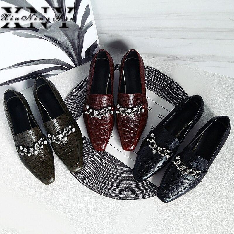 Bombas de Couro Genuíno de Moda para Mulheres do Dedo do pé Vestido de Festa Xiuningyan Calcanhar Quadrado Sapatos Handmade Pérola Rasa Bombas 2021 3cm