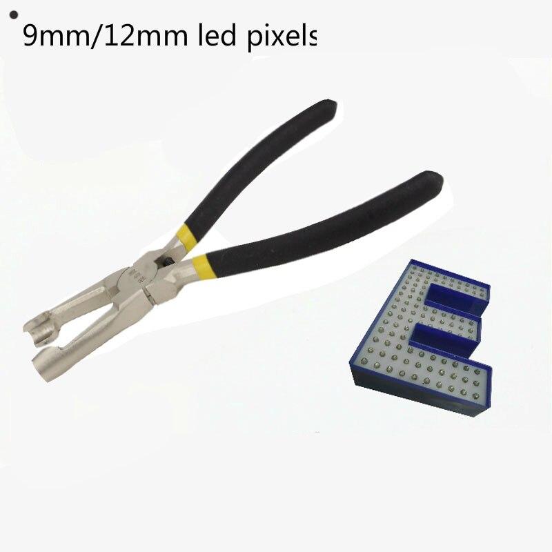 Alicates de montaje para píxeles led de 9mm/12mm, utilizados para fijar luces LED expuestas en letras de canal LED o alicates de letras de matriz de puntos LED