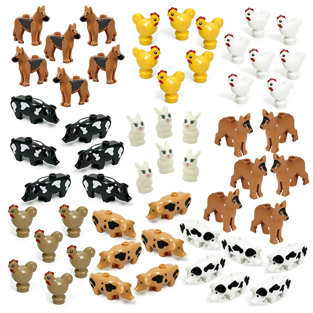 moc 38943 action figure demogorgobed bricks compatible with small building blocks assemble kid s children s toys gifts MOC Animals Blocks Dog Pig Chicks Fish Egg Chicken Coop Carrot Grass Assemble Building Blocks Diy Bricks Gifts Toys Children Kid