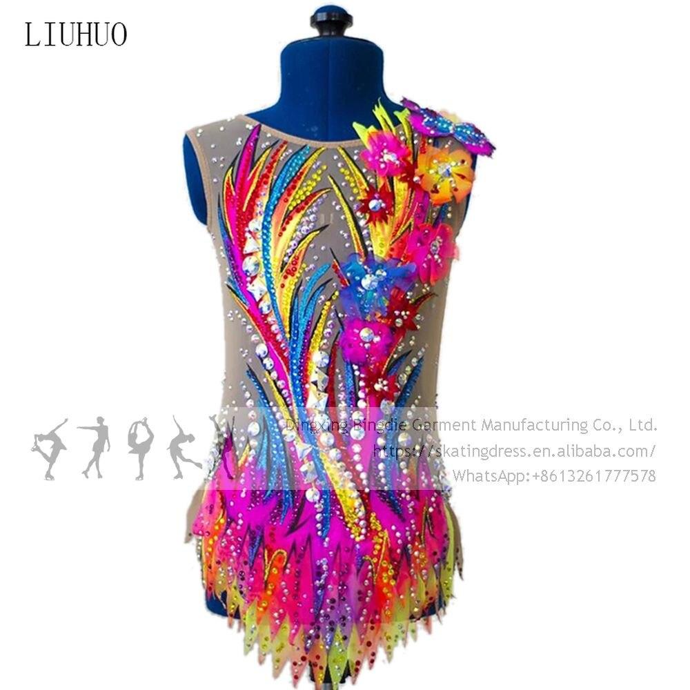 فستان تزلج على الجليد مخصص للنساء ، زي الجمباز الإيقاعي ، متعدد الألوان
