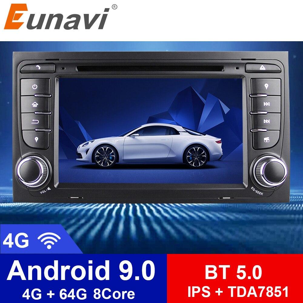 "Eunavi 7 ""octa 8 núcleo 4g 64g android 9.0 carro dvd player 2 din para audi a4/s4 (2003-2013) com tpms/obd2/4g/dab +/mapas gps"