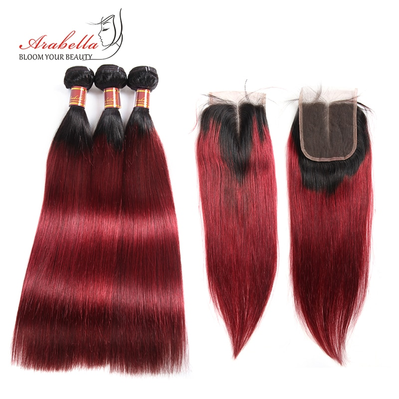 1B/99J Straight Hair Bundles With 4x4 Transparent Lace Closure Ombre Remy Arabella 100% Human Hair Bundles With Lace Closure