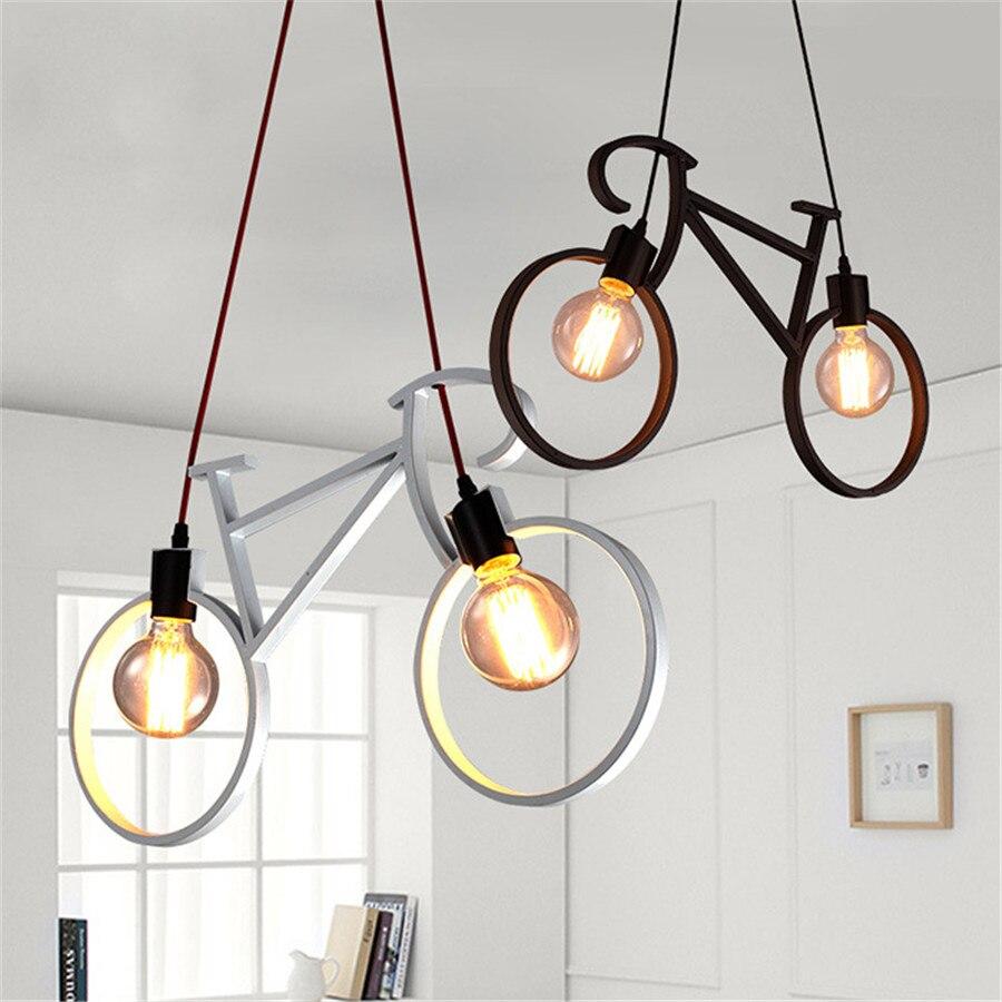 Thrisdar rétro vélo suspension E27 Restaurant Bar créatif fer suspension lampe Foyer café maison salle à manger suspension