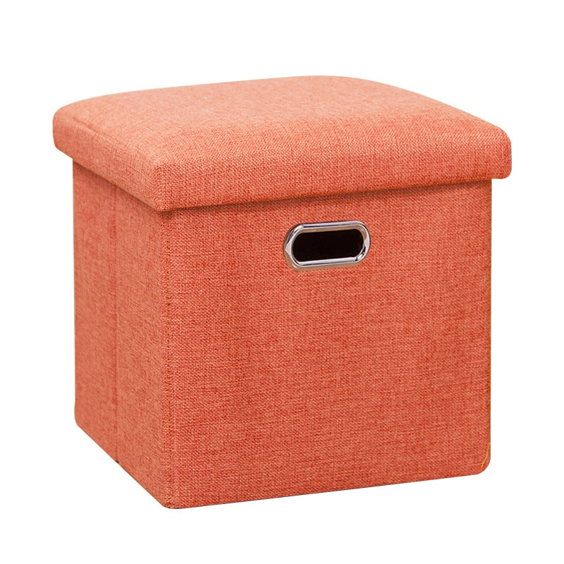 صندوق تخزين من الكتان متعدد الوظائف ، للمنزل والمكتب ، مع غطاء ، كرسي قابل للطي ، أحذية ، ألعاب ، ملابس ، أشياء متنوعة