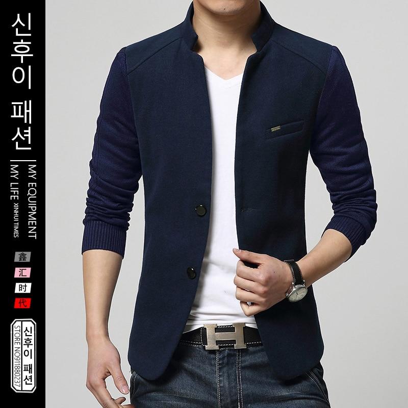 Suit Jacket Mens Patchwork Slim Woolen Coat Spring Autumn Male Handsome Stand Wool Suit Jacket Young