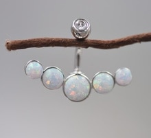 2020 neueste bauchnabel ring echt 925 sterling opal stein körper schmuck nabel ring piercing schmuck 1pc
