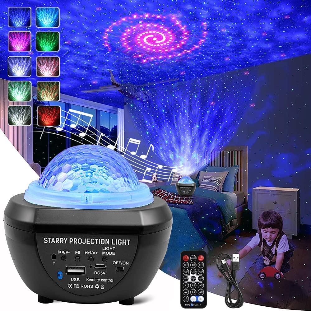Светодиодный Ночной светильник, Звездный проектор, вращающийся ночной Светильник океанской волны, музыкальный Bluetooth USB Галактический проек...