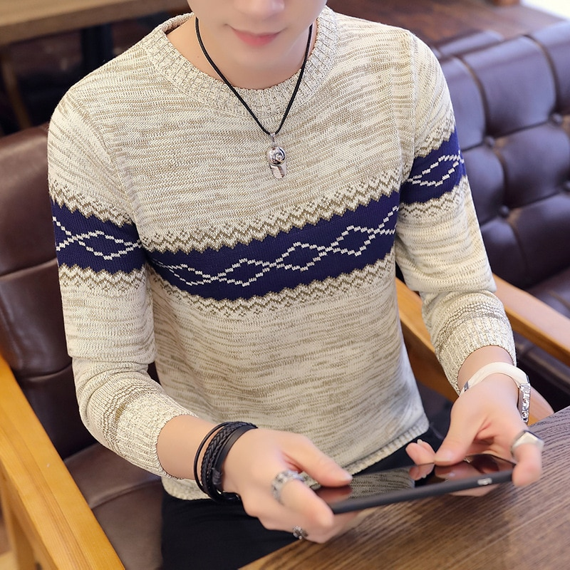 Winter Sweater Men's Thick Japanese-style Retro Korean-style Stylish-Style Loose-Fit College Style Thick Warm Ulzzang-Style