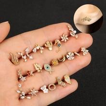 1PC nouveau 20g délicat blanc/jaune/or Rose couleur acier inoxydable CZ oreille Tragus Daith Cartilage Piercing bijoux femmes goujon Earri