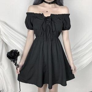 Французский сексуальное платье, платье в стиле «лолита» платье для женщин с высокой талией Slash шеи на шнуровке; Платье трапециевидной формы в стиле готик-Панк мода темно черный мини-платье для вечеринок для девочек