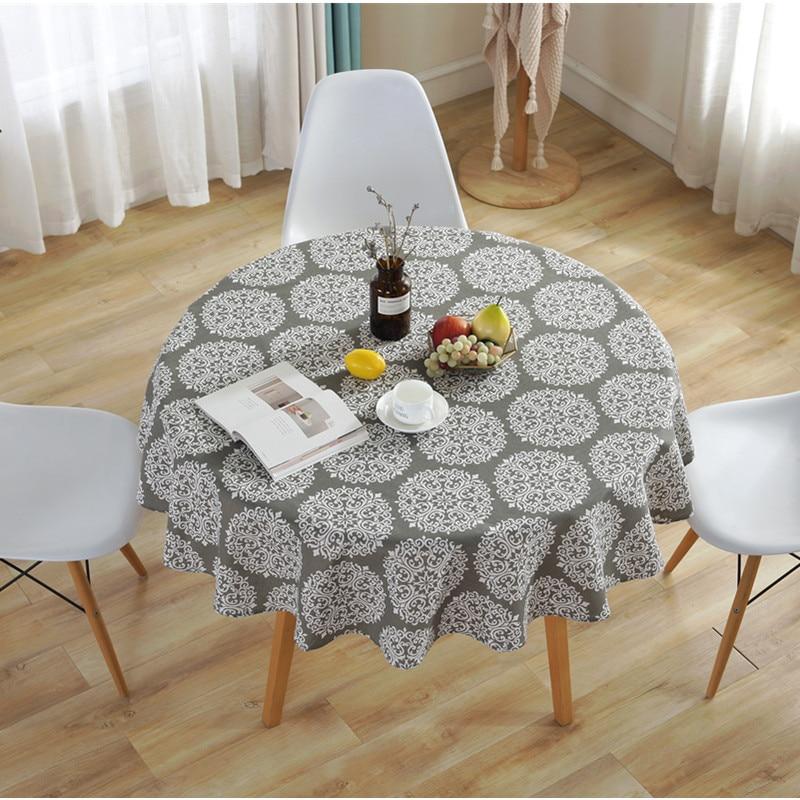 Mantel redondo de 150x150cm, mantel de té, mantel de restaurante, mesa de comedor, cubierta de mesa redonda de algodón