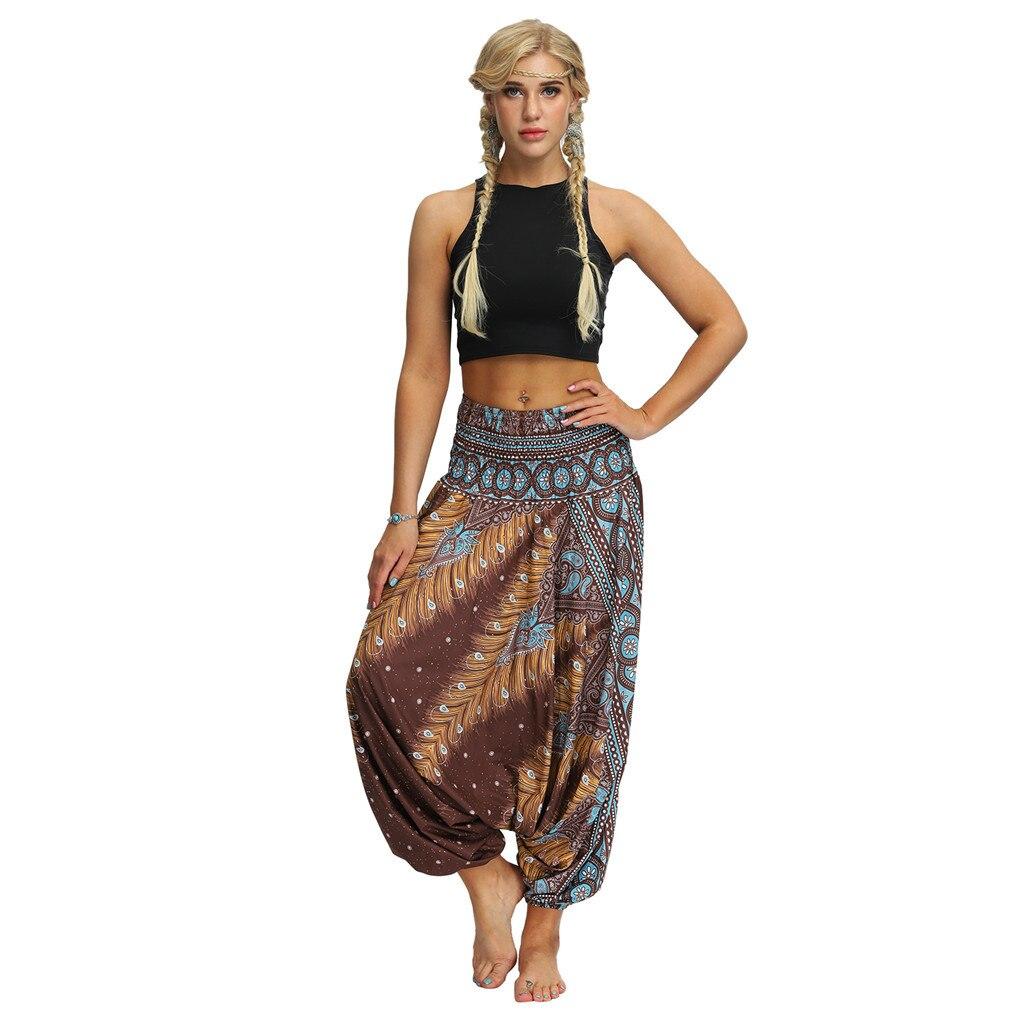 Damskie luźne spodnie na co dzień Hippy sportowe tajskie Harem damskie spodnie Smocked talia Boho festiwal Hippy Rayon Running Fitness # T1G