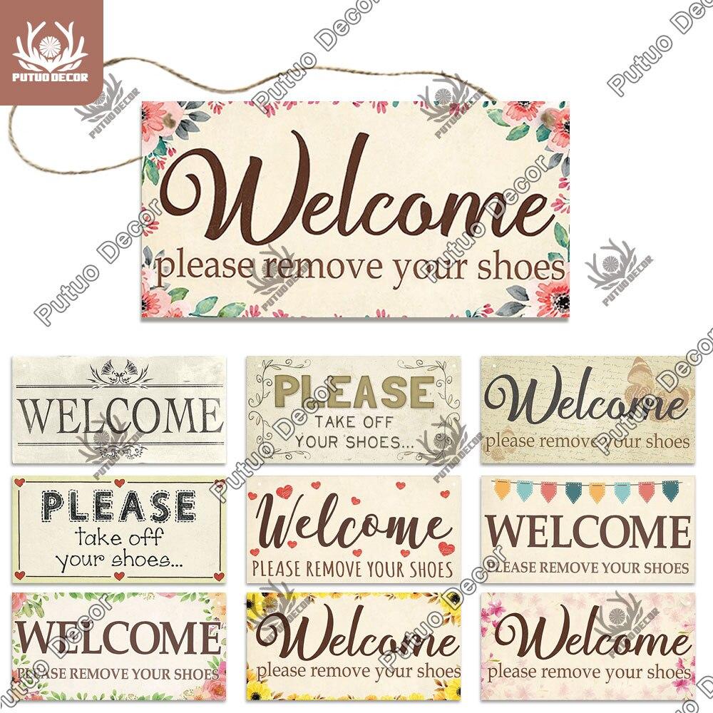 Putuo decoração sinais de boas-vindas sinais de suspensão de madeira placa decorativa placa de parede de madeira para decoração de casa porta