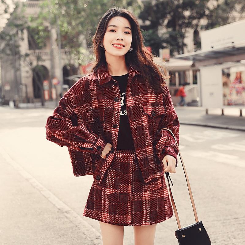 Veste à carreaux tendance pour femmes, tenue tendance, déesse digne, vêtements d'automne et d'hiver, veste à jupe courte Slim Fit, 2021