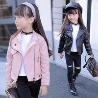 girls coat pu jacket kid outwear solid color zipper belt long sleeve casual girls motorcycle jacket spring children outerwear