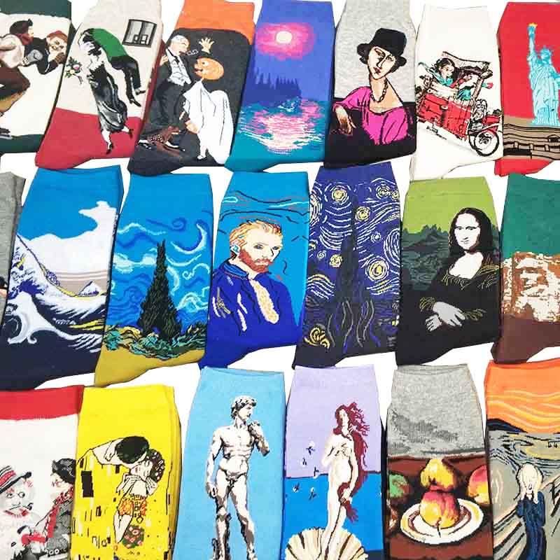 Звездная ночь Осень Зима Ретро Женская индивидуальность Искусство Ван Гог Фреска всемирно известная живопись мужские носки масло забавные счастливые мужские носки