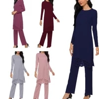 women muslim 2 pieces outfit hollow out split long sleeve tunic tops pants set solid color abaya dress hijab robe kaftan