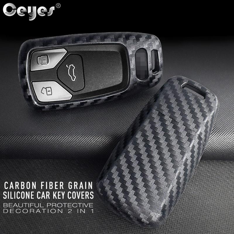 Ceyes Car Sticker accesorios de diseño de protección Shell funda, soporte para Audi TT A7 nuevo A4 A4L A5 QT 8S B9 Q5 remoto de fibra de carbono