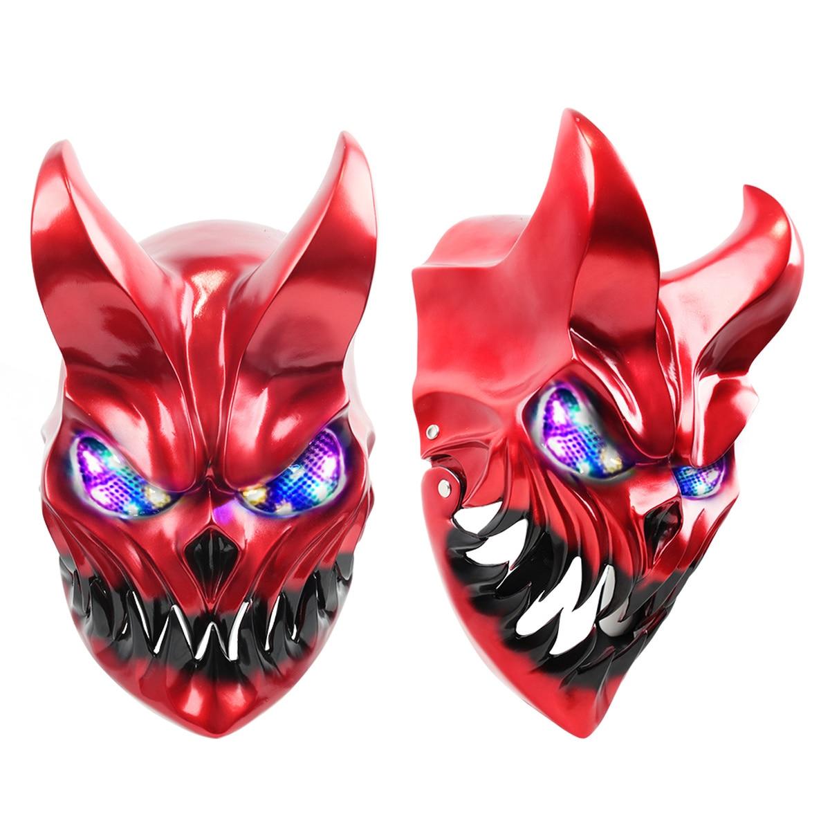 Demon Mask Slaughter To Prevail chico de la oscuridad demolidor LED Light Up máscaras Cosplay de Halloween casco de miedo (rojo brillante)