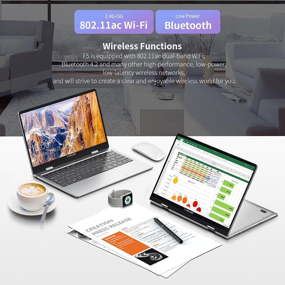 Teclast F5 11.6'' Laptop Intel N4100 8GB RAM 256GB SSD Windows10 1920*1080 IPS 360 Rotating Touch Screen Notebook PC Type-C