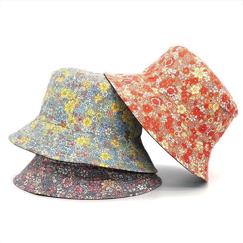 Fashion bucket hat  Floral Print Bucket Hat Women Double Side Cotton Reversible Sun Protection Cap Female Panama Fisherman Hats недорого