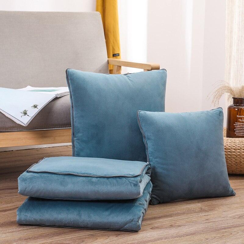 Cojín manta de felpa suave edredón 2 en 1 sofá almohada de oficina Nap niños de viaje de coche portátil Toalla de franela manta plegable