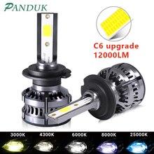 PANDUK 2Pcs H8 H11 Lamp H4 Led H7 H1 H3 12000LM Car LED Headlight Bulbs For Auto H27 881 HB3 HB4 Led Auto 12V 80W 6000K C6 Plus