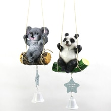 Decoración del hogar para niños, habitación de niña bonita, Mini Columpio de resina, oso Panda Animal Koala, carillones colgantes, regalo de cumpleaños
