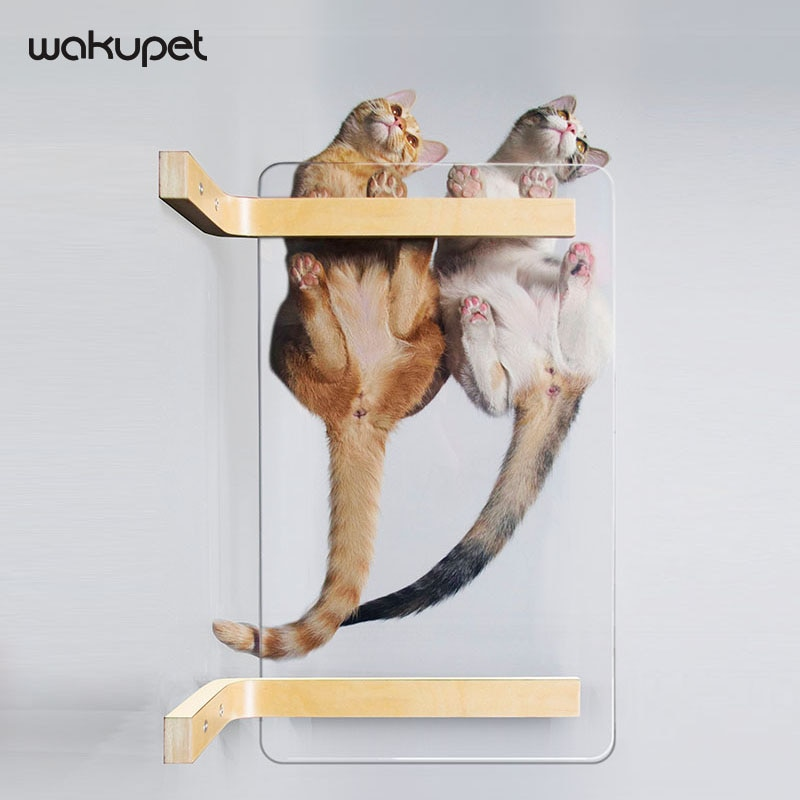 Solid Wood Transparent And Stable Cat Springboard Wall-mounted Pet Cat Furniture Cat Climbing Frame