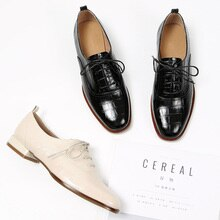 Genuine Cow Leather Wingtip Lace-Up Closure Ladies Brogue Flat Derby Shoes Oxfords Women