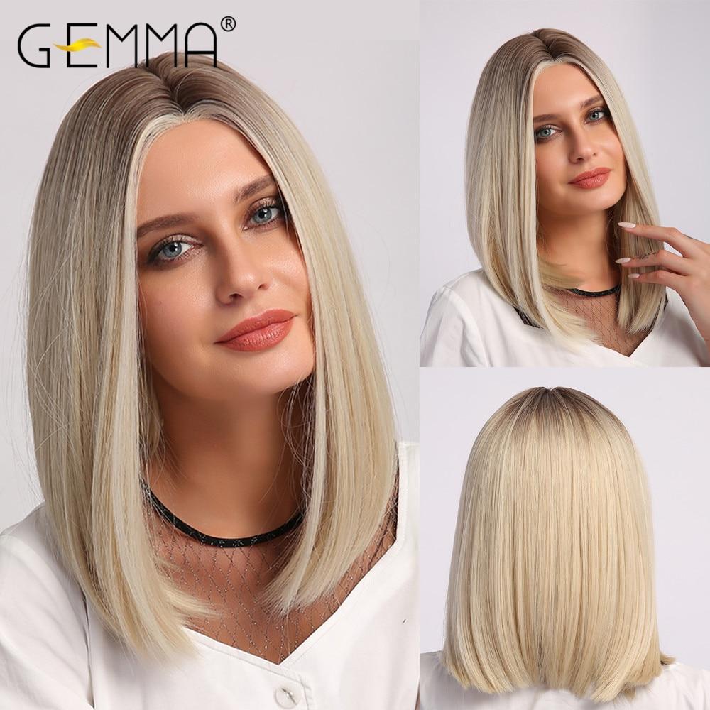 GEMMA متوسطة مستقيم بيروكات صناعية أومبير أسود براون شقراء الأبيض تسليط الضوء على الباروكات الجزء الأوسط الشعر للنساء مقاومة للحرارة