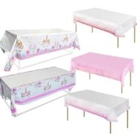 cyuan pink unicorn tablecloth kids unicornio theme party decoration disposable tableware set unicorn birthday party decoration