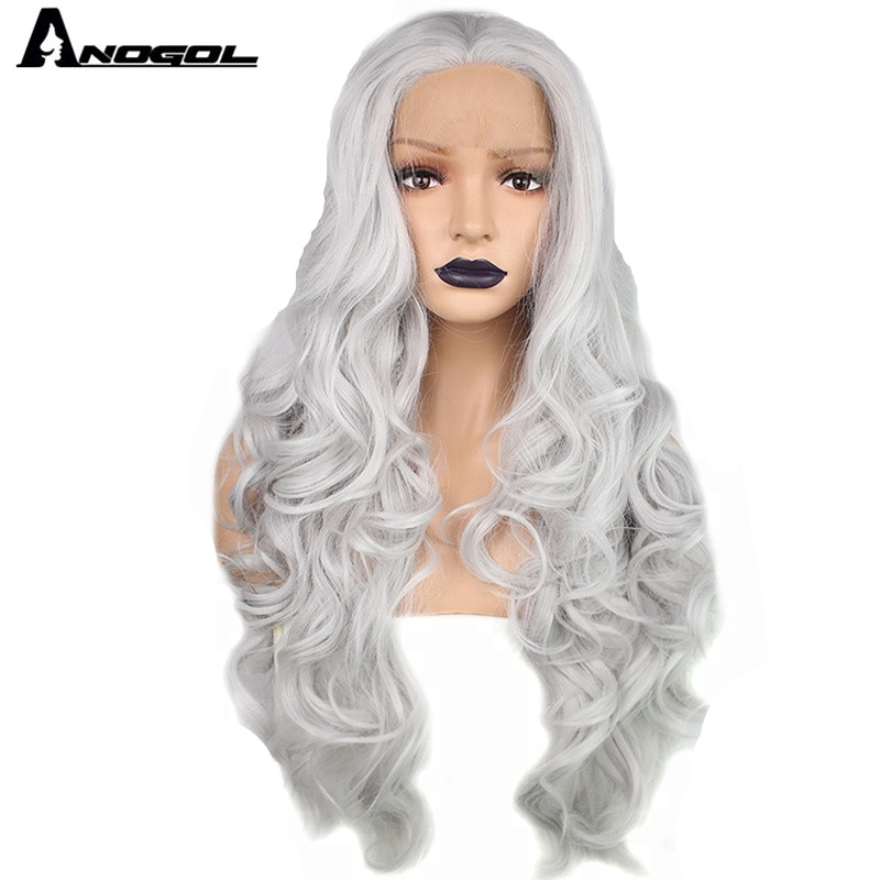 Anogol Gray White Silver Synthetic Lace Front Wig Long Body Wave Grey Hair Wigs for Women High Temperature Fiber