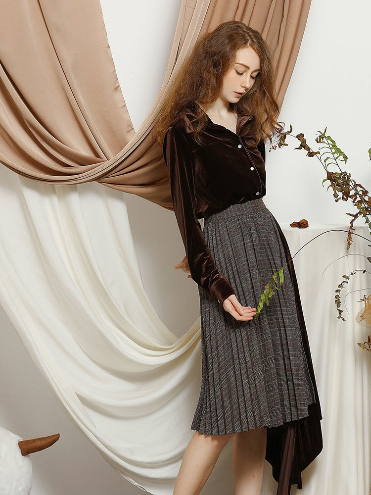 Women's Elegant Brown Velvet Shirt enlarge