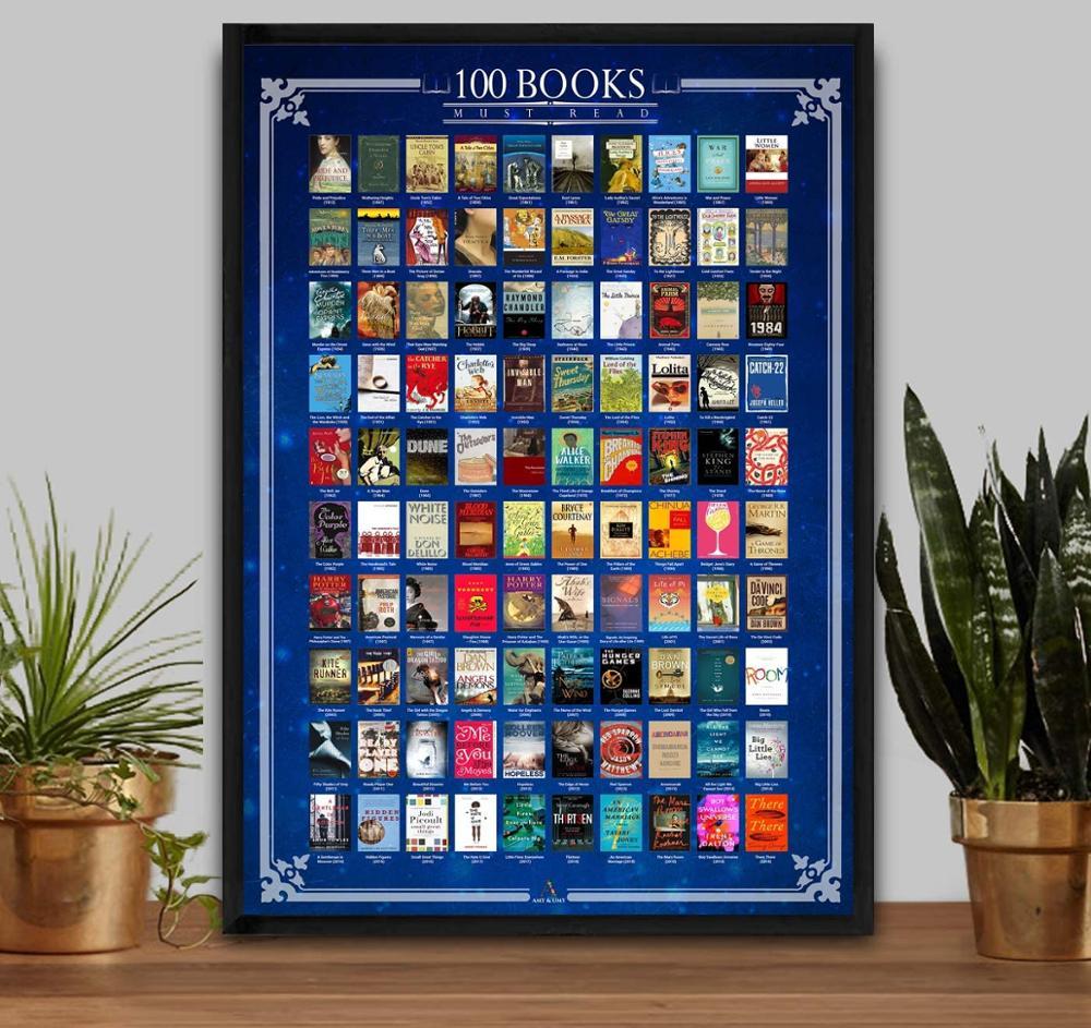 decorazioni-per-la-casa-gratta-e-vinci-libri-poster-100-deve-leggere-tutti-i-tempi-elenco-dei-secchi-grande-pezzo-di-intrattenimento-da-165x234-pollici