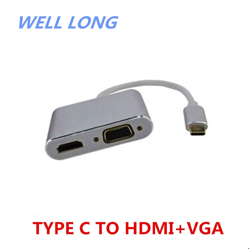 1 قطعة/الوحدة الفضة نوع-c إلى hdmi + vga 4K نفس الشاشة ، واحد إلى اثنين HD كابل نقل الفيديو