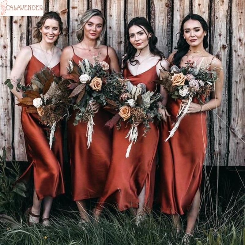 Satén como seda quemada naranja vestidos de dama de Honor spaguetti té...