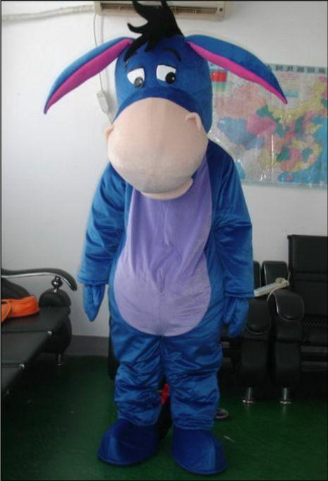 Personnage de dessin animé bleu âne mascotte Costume Cosplay Animal thème fête anniversaire extérieur tenue taille adulte