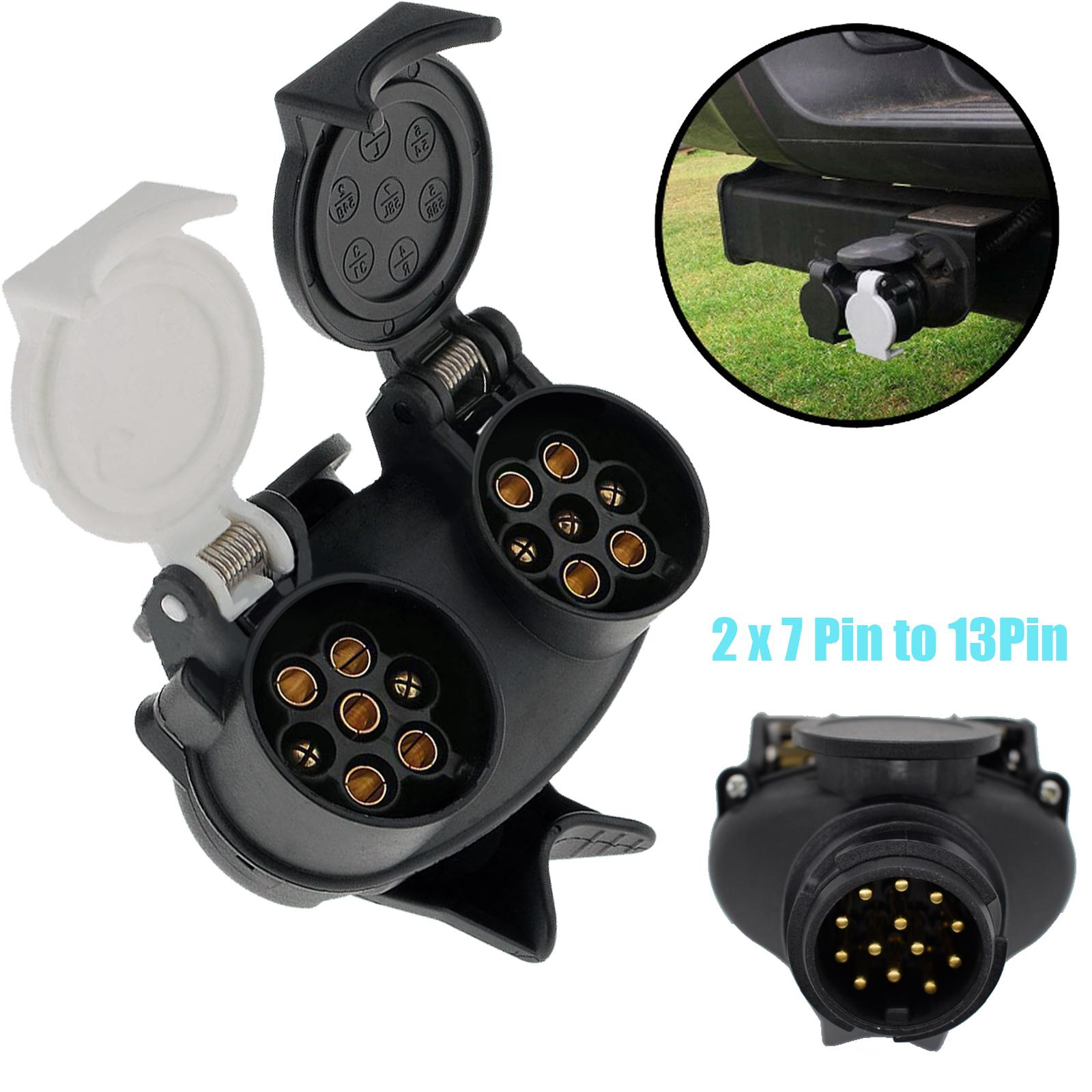 13 Pin To 7 Pin Double Head Trailer Socket Towing Plug Connector Caravan RV Power Plug Socket Connector Conversion Adapter
